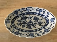 """Antique Blue Onion Meissen Teichert Oval Relish Dish 7.5"""" x 5"""" 1882-1929 HTF #Meissen"""