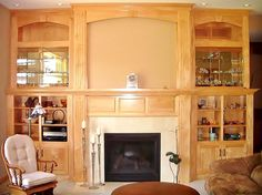 Entertainment center with fireplace mantel creating a completed unit! Made By: Lakeside Cabinets and Woodworking
