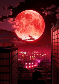 Join Anime Kida the anime social network — Anime City with a Red Moon Scenery Wallpaper by. Anime Scenery Wallpaper, Galaxy Wallpaper, Pink Moon Wallpaper, Anime City, Sisters Art, Moon Pictures, Beautiful Moon, Blood Moon, Moon Art