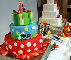 Pin for Later: Creative and Quirky Groom Cakes Super Mario Man The fun groom's cake beside a wedding cake is a quirky touch without sacrificing the traditional white cake. Themed Wedding Cakes, Themed Cakes, Cake Icing, Cupcake Cakes, Cupcakes, Mario Birthday Cake, Video Game Wedding, Super Mario Cake, Wedding Cake Inspiration