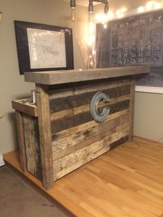 Reclaimed wood bar made from pallets.