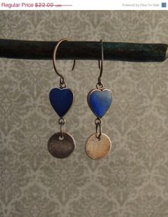 SALE Lapis Hearts, Fine Silver Disks, Dangle Earrings, Vintage Lapis Heart Charms, Artisan Jewelry, Sundance Style. $15.40, via Etsy.