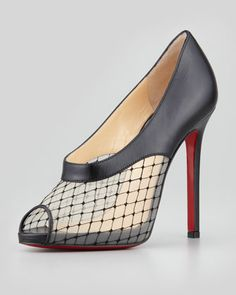Resillana Lace-Net Peep-Toe Red-Sole Bootie, Black by Christian Louboutin at Neiman Marcus.