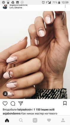 Simple Line Nail Art Designs You Need To Try Now line nail art design, minimalist nails, simple nails, stripes line nail designs Minimalist Nails, Line Nail Designs, Round Nail Designs, Clear Nail Designs, Clear Nails With Design, Gel Designs, Makeup Designs, Neutral Nail Art, Subtle Nail Art