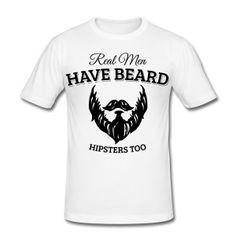Los hombres de verdad usar barba, hipster Camisetas - Camiseta ajustada hombre
