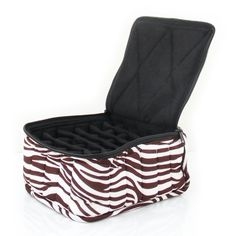 Essential Oil Designer Carrying Case holds and bottles - Zebra - Dark Brown w/White Stripes w/Black interior - high > Amazing product just a click away : aromatherapy essential oils Aromatherapy Oils, Dark Brown, Essential Oils, Interior, Black, Bottles, Design, Stripes, Amazing