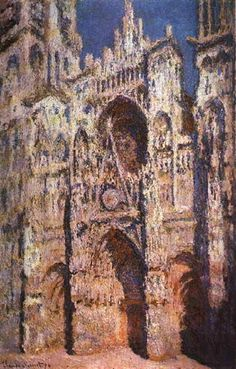 Claude Monet: Rouen Cathedral in Full Sunlight. Completed in 1894. Today located in the Louvre Paris, France.