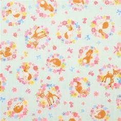 mint green double gauze fabric colorful flower animal from Japan - Kawaii Fabric