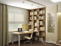 Дизайн кабинета в спальне в квартире на бул.Чоколовском. Мужской интерьер