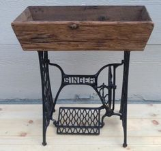 New Sewing Machine Cabinet Planter Ideas Sewing Machine Tables, Sewing Machine Projects, Treadle Sewing Machines, Antique Sewing Machines, Sewing Tables, Barn Wood Projects, Repurposed Items, Repurposed Furniture, Porch Decorating