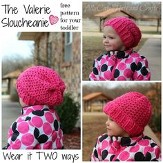 The Valerie Slouceanie- a wear free wear it two way pattern for your toddler, designed by AllieCat's Hats and Crafts