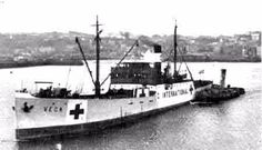 The SS Vega arrives in Guernsey bringing thousands of food parcels for the starving population. Courtesy of the Guernsey Press