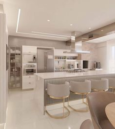 Industrial Kitchen Design, Luxury Kitchen Design, Kitchen Room Design, Home Room Design, Dream Home Design, Home Decor Kitchen, Interior Design Kitchen, House Design, Style At Home