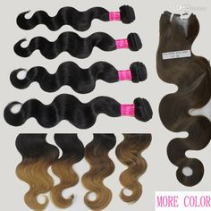 Wholesale Brazilian Hair - Buy 5A Brazilian Virgin Hair Body Wave Ombre Hair Weave Human Weft Hair Extension Bundles Mix Black 1b Blonde Brown 18/613 Hair Color, $34.47 | DHgate