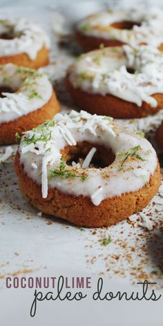 These Coconut Lime Paleo Donuts are delicious, healthier donuts made without flour, dairy, or refined sugar. A coconut flour and coconut sugar doughnut gets topped with a creamy coconut-lime glaze. This post is made in collaboration with GoBeyond Foods and their paleo-optimized sugars. Gluten-free, paleo, dairy-free, DELICIOUS donuts!