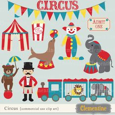 Circus clip art,  perfect for use in cards or invitations.   11 graphics in total.   Graphics measure about 6 inches, except for the bunting which measures 12 inches wide.