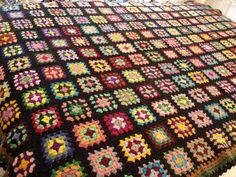 Vtg Black Multi Color Crochet Granny Square Afghan Throw Spread BOHO Chic 56x86 #Handmade