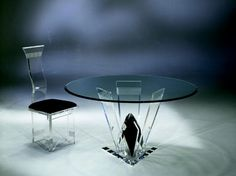 DIAMOND CUT ROUND DINETTE TABLE by Shahrooz shahrooz-art.com - #AcrylicFurniture, #LuciteFurniture ACRYLICORE by Shahrooz is one of the top-leading designers and manufacturers in Fine Clear Acrylic Furniture and #Sculptures in the country. www.shahrooz-art.com  888-406-4846