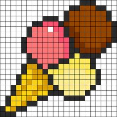Ice Cream Cone Perler Bead Pattern / Bead Sprite - Sprite - Ideas of Sprite Kandi Patterns, Perler Patterns, Beading Patterns, Easy Pixel Art, Pixel Art Grid, Pixel Art Glace, Perler Bead Art, Perler Beads, Cross Stitch Designs