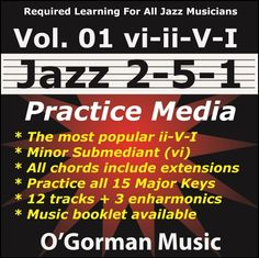 This play-along practice media is for jazz musicians studying the modal 2-5-1 (ii-V-I) preceded by a minor submediant.  All chords contain extensions and are played in standard song format, (I Maj7-vi7-ii7-V7), and repeats.  This creates the single most popular chord progression in jazz and other forms of music.    Available for immediate download from your favorite online music store:  iTunes, GooglePlay, Amazon, and others!