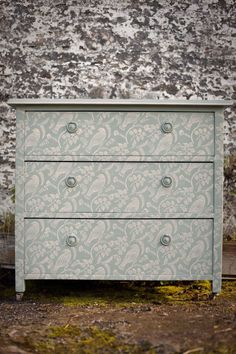 Chest printed with TUVI patterned paint rollers using Annie Sloan paints www.the-pinted