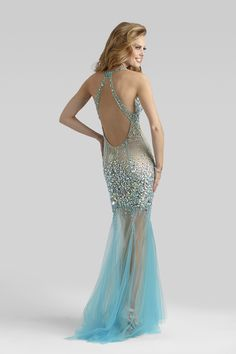 2014 Clarisse Couture Aqua Nude Sheer Tulle Beaded Sequin Sexy Prom Gown 4304 | Promgirl.net