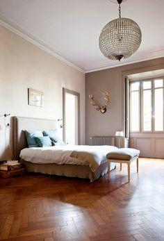 soft and feminine bedroom + gorgeous herringbone floors