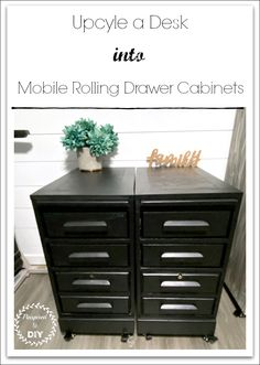 Upgrading to a sit/stand desk? If so, make some rolling file cabinet drawers to fit under your new desk to store your office supplies. Quick and easy way to add drawers to your office when going ergonomic! Easy executive desk upcycle. Don't throw away that old desk, turn it into something useful!