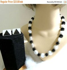 ❘❘❙❙❚❚ ON SALE ❚❚❙❙❘❘     This is another fantastic Black & White Lucite Necklace and Earrings Set with Molded Vintage Beads and Discs!  This necklace is made up of a combi... #ecochic #vogueteam