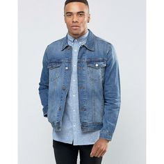 Jack & Jones Denim Jacket in Vintage Wash ($97) ❤ liked on Polyvore featuring men's fashion, men's clothing, men's outerwear, men's jackets, black, tall mens jackets and mens tall denim jacket