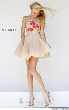 Sherri Hill 21198 - Nude/Multi Lace Short Prom Dresses Online from The Prom Dresses. Saved to Prom Dresses. Sherri Hill Short Dresses, Floral Prom Dresses, Lace Homecoming Dresses, Prom Dresses Online, Pretty Dresses, Beautiful Dresses, Dresses 2016, Bridesmaid Dress, Sadie Robertson