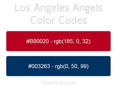 los angeles angels team color codes