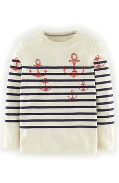 Mini Boden 'Logo Breton' Long Sleeve T-Shirt (Toddler Boys, Little Boys & Big Boys) available at #Nordstrom