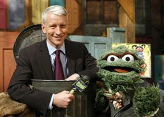 Anderson Cooper and Oscar the Grouch reporting for GNN on Sesame Street!
