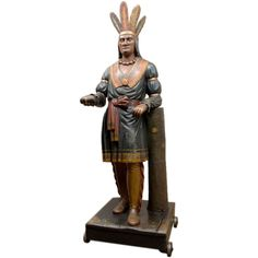 Antique Sculptures For Sale at Don Delillo, Cigar Store Indian, Early Explorers, Cigar Shops, Wooden Statues, Cigars And Whiskey, Lodge Style, Art Carved, Vintage Shops