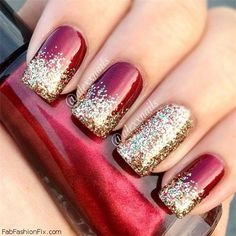 Red nails with golden glitter perfect for holidays. #nails #nailart