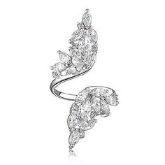 Mytys 18k White Gold Plated Adjustable Angel Wings Cubic Zirconia Fashion Finger Rings