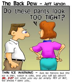 This article page features the bible teaching in Matthew 5:37 with a cartoon about marriage and tight pants