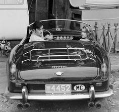 "Alain Delon and Jane Fonda Arriving at the Film Set of ""Les Félins"", Antibes, Côte d'Azur, France, 1964 // photo by Edward Quinn"