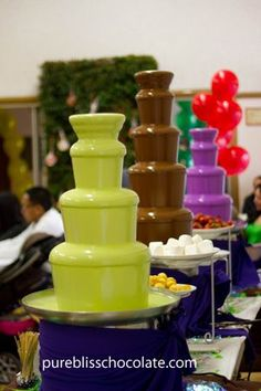 Colored Chocolate Fountain Rental and Candy Buffet - Pure Bliss Chocolate Chocolate Fountain Rental, Chocolate Fountains, Chocolates, Chocolate Photos, Pink Chocolate, Sweet Sixteen Parties, Sweet 16 Birthday, 16th Birthday, Sweet 15