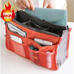 Goods.Site - Bag In Bag Double Zipper Portable Multifunctional Travel Pockets Handbag Storage Bag Fadish Travel Cosmetic Makeup Wash Bag