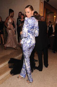Karolina Kurkova in a printed pant suit @ Bergdorf Goodman event