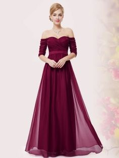Burgundy Ruched Sweetheart Off Shoulder Half Sleeve Maxi Prom Dress | Choies