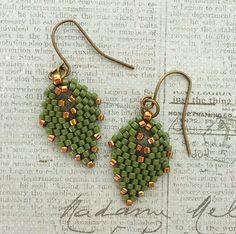 "RUSSIAN LEAF EARRINGS   8/0 seed beads Miyuki ""Duracoat Galvanized Pewter"" (4222)  11/0 Miyuki Delica beads ""Duracoat Galvanized Pewter""..."