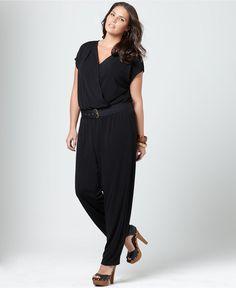DKNYC Plus Size Jumpsuit, Short Sleeve Belted - Plus Size Dresses - Plus Sizes - Macy's