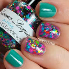 Plump and Polished: Lumina Lacquer - Mucking Rainbows Glittered Nail Polish, Over Essie's The Girls are Out Nail Polish! So Beautiful & Cheerful!