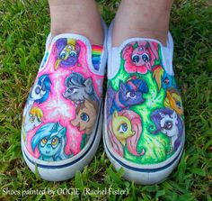Wild and crazy Painted Shoes Tennis Shoes Canvas Art Painting Oogie Rachel Fister-my little pony friendship is magic!
