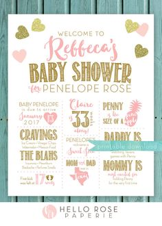 Baby Shower Board Printable Sign . Custom by hellorosepaperie