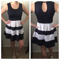 Blue and White Dress Size Medium - blue and white striped dress. Excellent used condition. Dresses