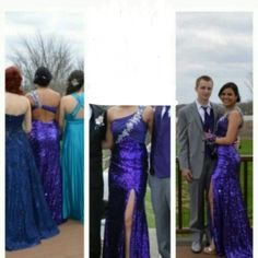 Purple Prom Dress Purple prom dress. Does have some wear on bottom, but it is beautiful. I'm 5'4 wearing heels and I wore a 34B. PRICE IS FLEXIBLE. Make an offer! Dresses Prom